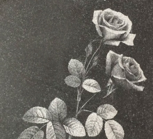 Гравировка роз на плите