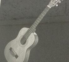 Гитара. Гравировка на плите.