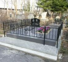 Двойной памятник, Тротуарная плитка , ограда