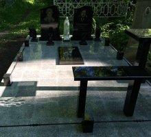 Комплект лавки и стола из черного гранита