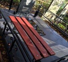 Деревянная скамейка и металлическая ограда